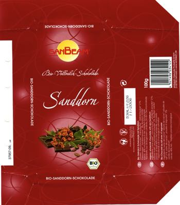 Germany - Sanbeam - Sanddorn / organic wholemilk chocolate with sea buckthorn